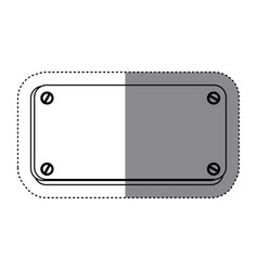 sticker silhouette metal plate with screws vector image