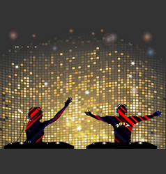 Striped dj silhouette male and female vector