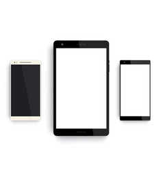 Tablet and smartphones mockup on white vector