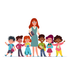 Teacher with children happy multiethnic girls and vector