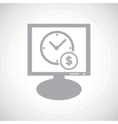 Time money grey monitor icon vector image