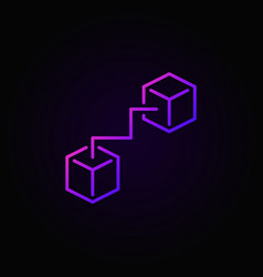 Two connected cubes purple icon vector