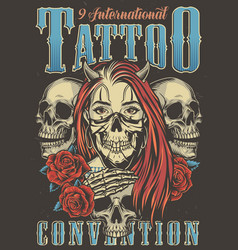 Vintage tattoo convention advertising poster vector