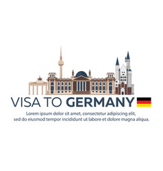 Visa to germany travel to germany document for vector