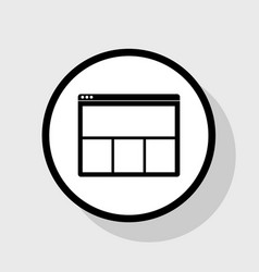 web window sign flat black icon in white vector image
