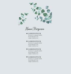 wedding menu card with eucalyptus leaves rustic vector image
