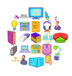 work space icons set cartoon style vector image