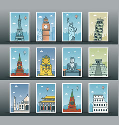 World landmarks collection travel and tourism vector