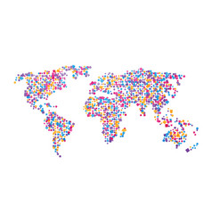 world map of colorful squares vector image