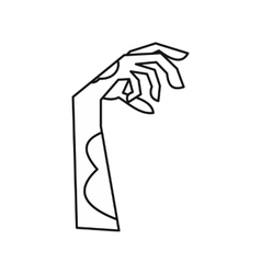 Zombie hand icon outline style vector