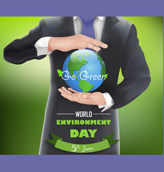 businessman with a globe of concept world environm vector image