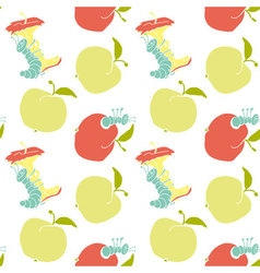 cute apple worm and red apple fun concept eco vector image vector image