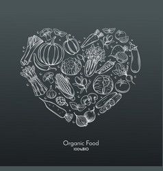 heart composition with hand drawn vegetables vector image