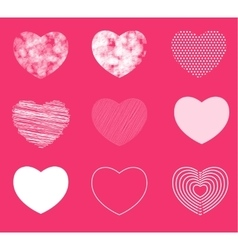 Hearts simple shaded and broken in 9 different vector image vector image