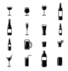 Set Of Sixteen Drinks Black White Silhouettes vector image vector image