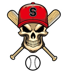 skull wear a baseball hat vector image vector image