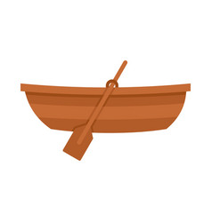 wooden boat icon flat style vector image