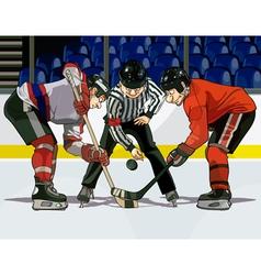 cartoon hockey throwing the puck vector image vector image