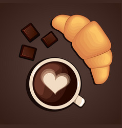 Coffee cup with chocolate and croissant vector image vector image