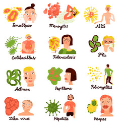human viruses flat icons collection vector image vector image