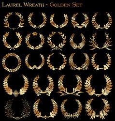 laurel wreath - golden set vector image