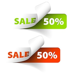 Red and green sale coupons 50 discount vector image vector image