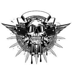 skull in sunglasses and two pistols vector image vector image