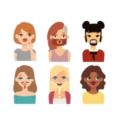 Woman emoji face icons vector image vector image