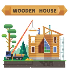Wooden house in the forest vector image vector image
