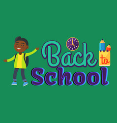 back to school sticker with inscription and boy vector image