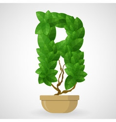 Green foliage houseplant alphabet vector image vector image