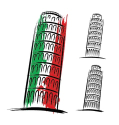 Pisa tower design on white background vector image vector image