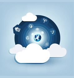 round blue design with a computer cloud vector image vector image