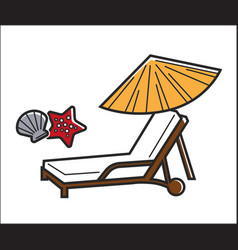 Deck chair and umbrella vector