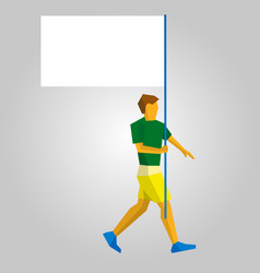 flag bearer with blank standard in one hand vector image