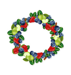 fruits wreath frame design for natural cosmetics vector image
