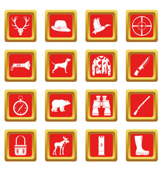 hunting icons set red vector image vector image