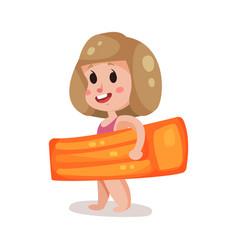 little girl with orange inflatable mattress kid vector image