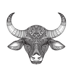 patterned head of the bull vector image