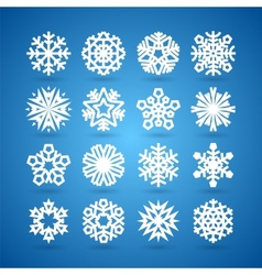 Simple Flat Snowflakes Set for Winter and vector image vector image