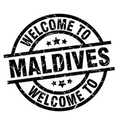welcome to maldives black stamp vector image vector image