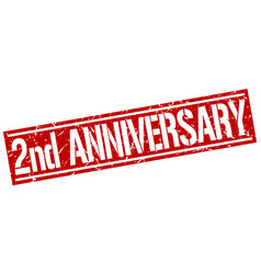 2nd anniversary square grunge stamp vector