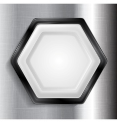 Abstract metallic hexagon label vector image