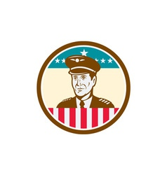 Airline Pilot Aviator USA Flag Circle Retro vector