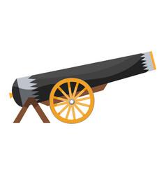 Antique pirate cannon vintage gun color image of vector