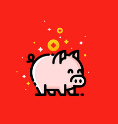 Asian wealth coins and 2019 chinese new year pig vector