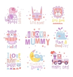 Baby nursery room print design templates vector