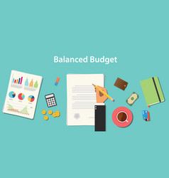 Balanced budget with businessman working on paper vector