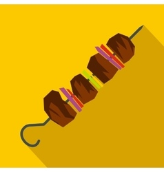 Barbecue kebab on skewers icon flat style vector image