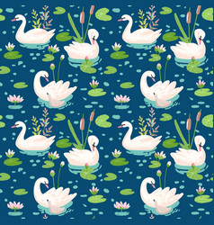 beautiful seamless pattern with white swans vector image